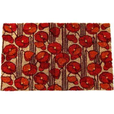 Poppies 17 in. x 28 in. Non Slip Coir Door Mat