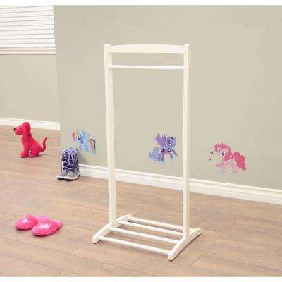 1-Hook Kid's Contemporary Wooden Cloths Hanger in White