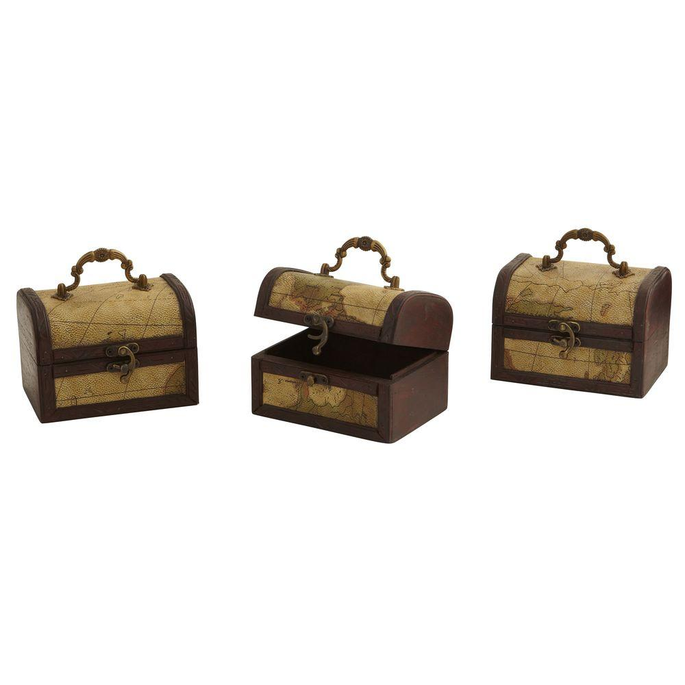 Nearly Natural Decorative Trunk Chests with Map Design (Set of 3)