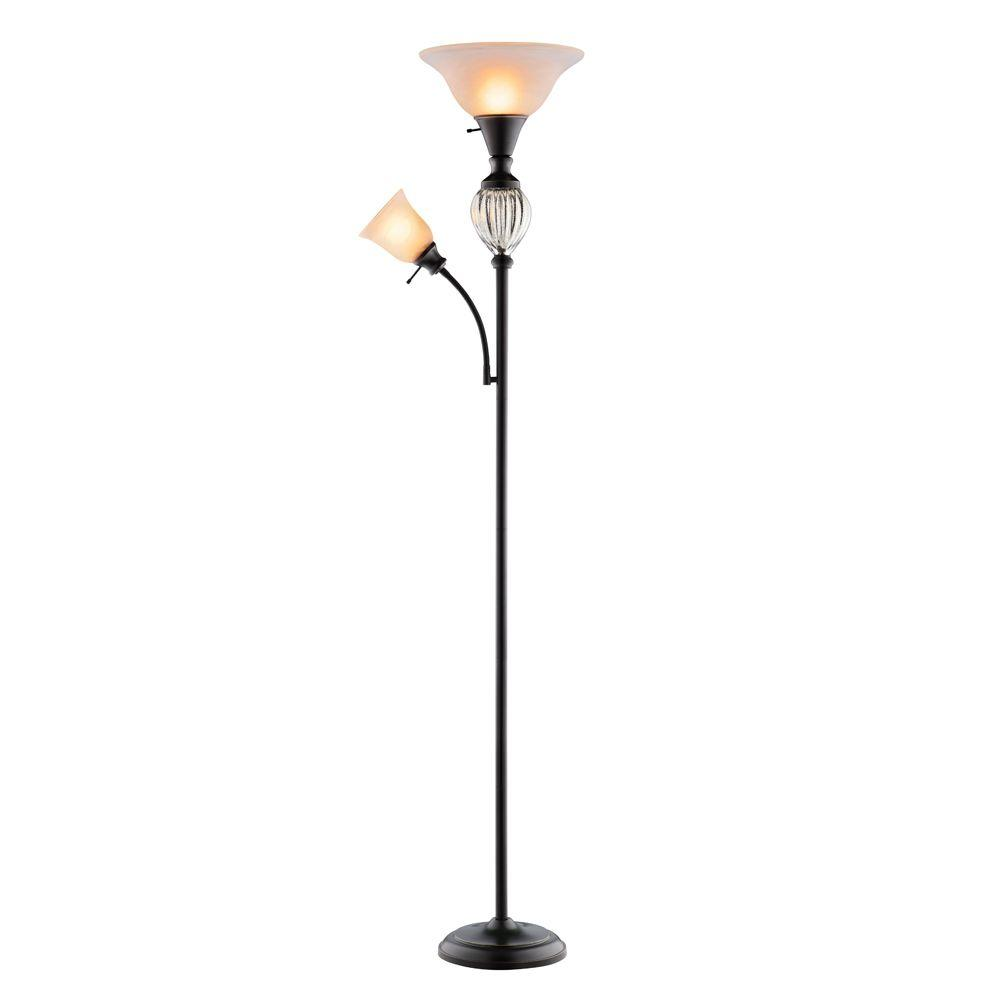 Hampton Bay Highgate 71.5 In. Oil Rubbed Bronze Mercury Glass Font Floor  Lamp With Reading