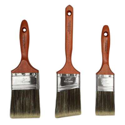 2 in. Flat, 3 in. Flat, 2.5 in. Angle Sash Polyester Blend Paint Brush Set (3-Pack)