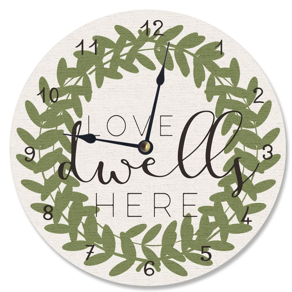 """Love Dwells Here Boxwood Wreath"" by Daphne Polselli Wall Clock"