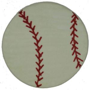 LA Rug Fun Time Shape Baseball White and Red 39 inch Round Area Rug by LA Rug