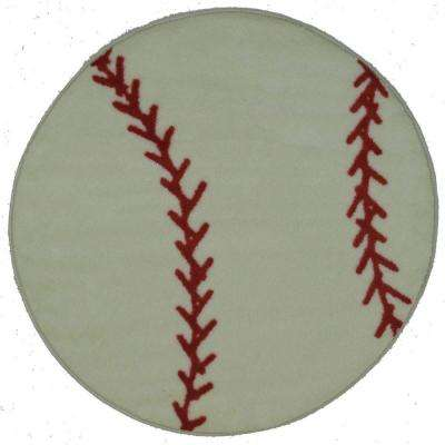 Fun Time Shape Baseball White and Red 3 ft. Round Area Rug