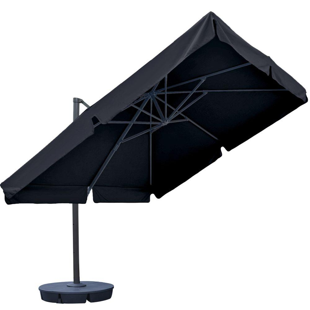 Superbe Island Umbrella Santorini II 10 Ft. Square Cantilever Patio Umbrella With  Valance In Black Sunbrella