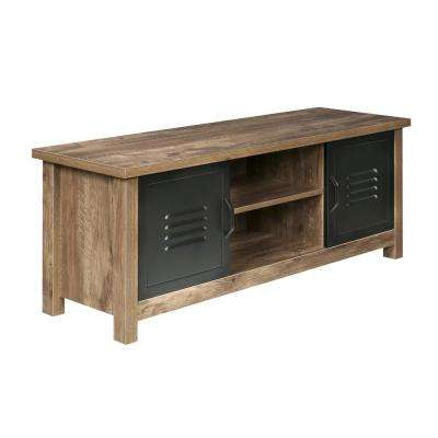 Norwood Range TV Stand Entertainment Center, Wood & Black Metal