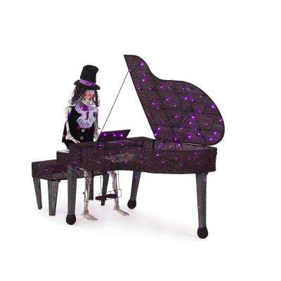 57 in. Pre-Lit LED Skeleton Playing Piano