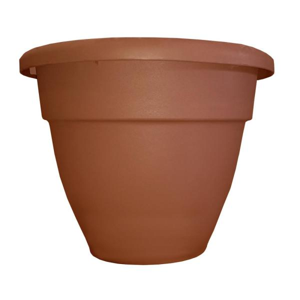 Caribbean 12 in. Dia Clay Plastic Planter with Removable Drain Plug