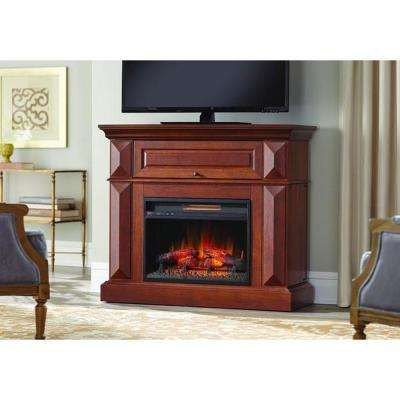 Coleridge 42 in. Mantel Console Infrared Electric Fireplace in Medium Cherry in 36 in. H