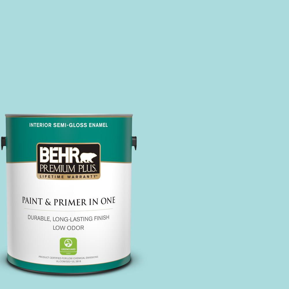 BEHR Premium Plus 1 gal. #M460-2 Beachside Drive Semi-Gloss Enamel Low Odor Interior Paint and Primer in One