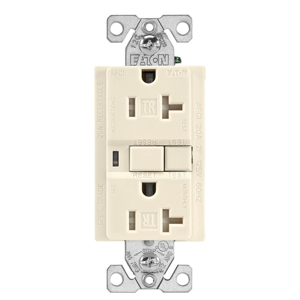 Ungrounded Smart Outlets Lighting The Home Depot Light Switch Wiring Diagram Afci 20 Amp 125 Volt Tamper Resistant Duplex Receptacle Almond
