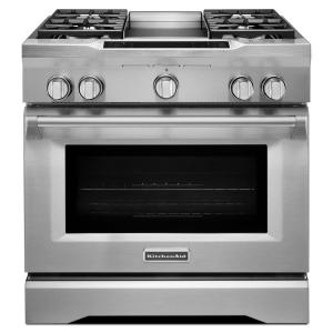 KitchenAid Commercial Style 36 In. 5.1 Cu. Ft. Slide In Dual Fuel Range  With Self Cleaning Convection Oven In Stainless Steel KDRS463VSS   The Home  Depot