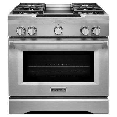 KitchenAid Commercial-Style 36 inch 5.1 cu. ft. Slide-In Dual Fuel Range with Self-Cleaning Convection Oven in Stainless... by zz