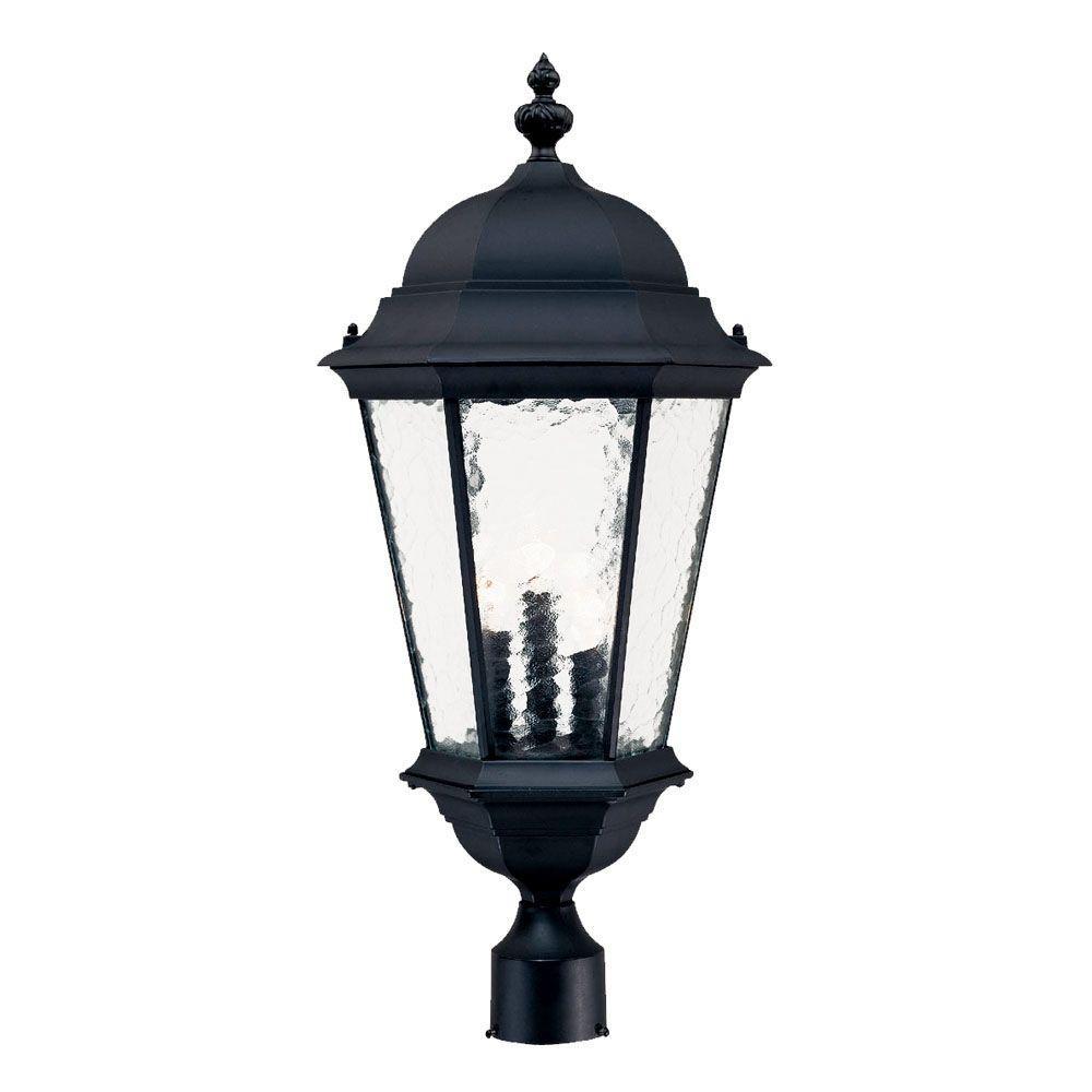 Telfair 3-Light Matte Black Outdoor Post-Mount Light Fixture