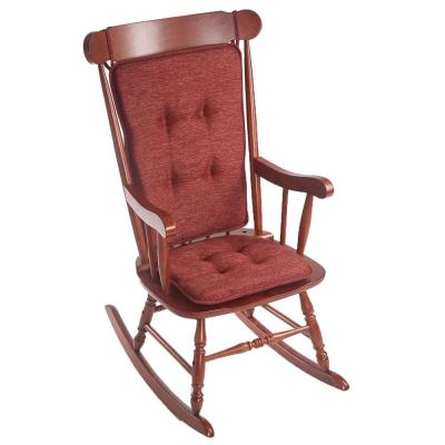 Klear Vu Embrace Red Tufted Rocking Chair Cushion Set with Gripper Back and Ties