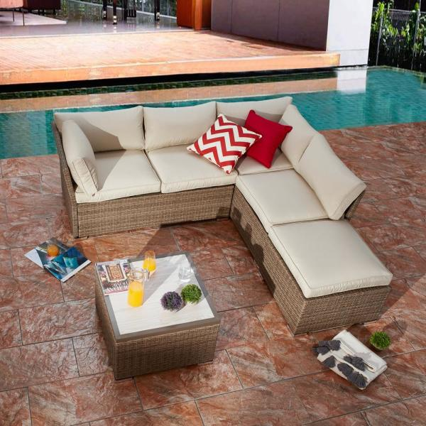 Patio Festival 4-Piece Wicker Outdoor Sectional Set with Beige