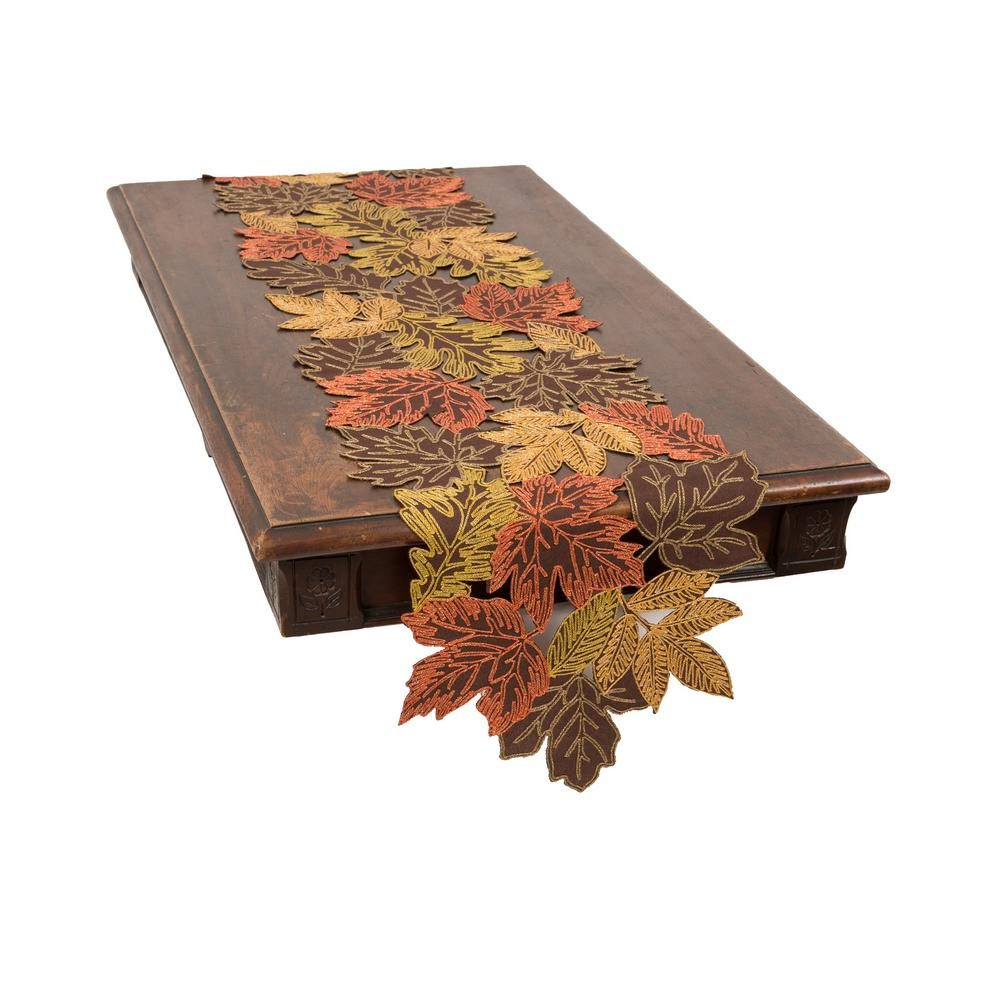 Xia Home Fashions 0.1 in. H x 15 in. W x 108 in. D Autumn Leaves Embroidered Cutwork Table Runner in Brown