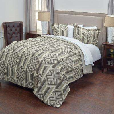 Gray/Khaki Plank Pattern 3-Piece King Bed Set