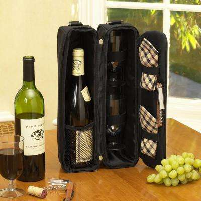 Sunset Black and London Wine Tote for 2 with Glasses