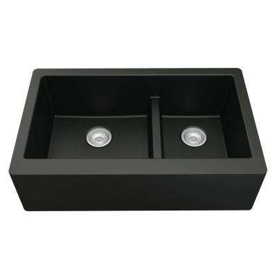 Farmhouse Apron Front Quartz Composite 34 in. Double Offset Bowl Kitchen Sink in Black