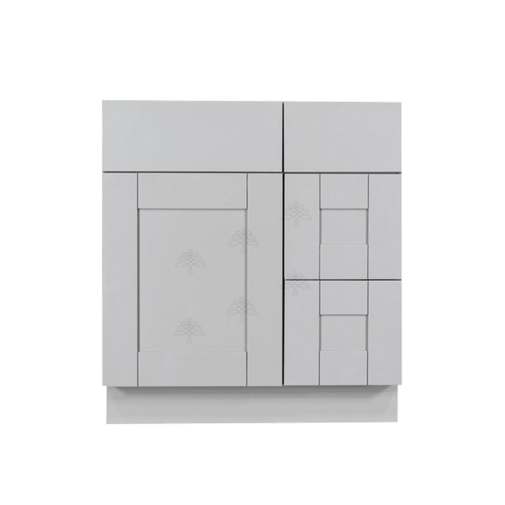 LIFEART CABINETRY Anchester Assembled 30 in. x 21 in. x 33 in. Bath Vanity Sink Base Cabinet with 1-Door 2-Right Drawers in Light Gray