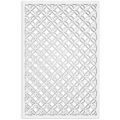 Moors Circle 32 in. x 4 ft. White Vinyl Decorative Screen Panel