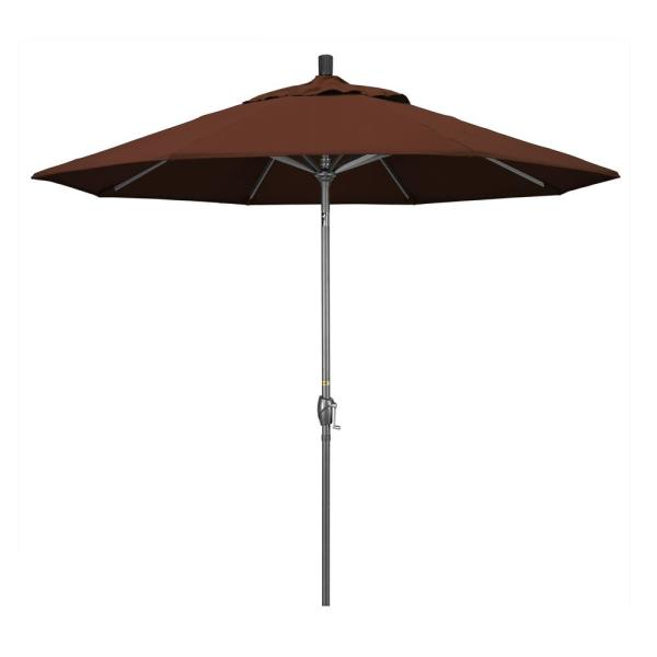 9 ft. Hammertone Grey Aluminum Market Patio Umbrella with Push Button Tilt Crank Lift in Bay Brown Sunbrella