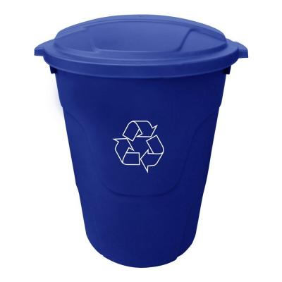 32 Gal. Blue Round Multi-Purpose Plastic Trash Can with Recycling Logo and Blue Lid
