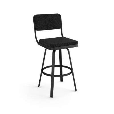 Everett 26 in. Heather Black Polyester Black Metal Swivel Counter Stool