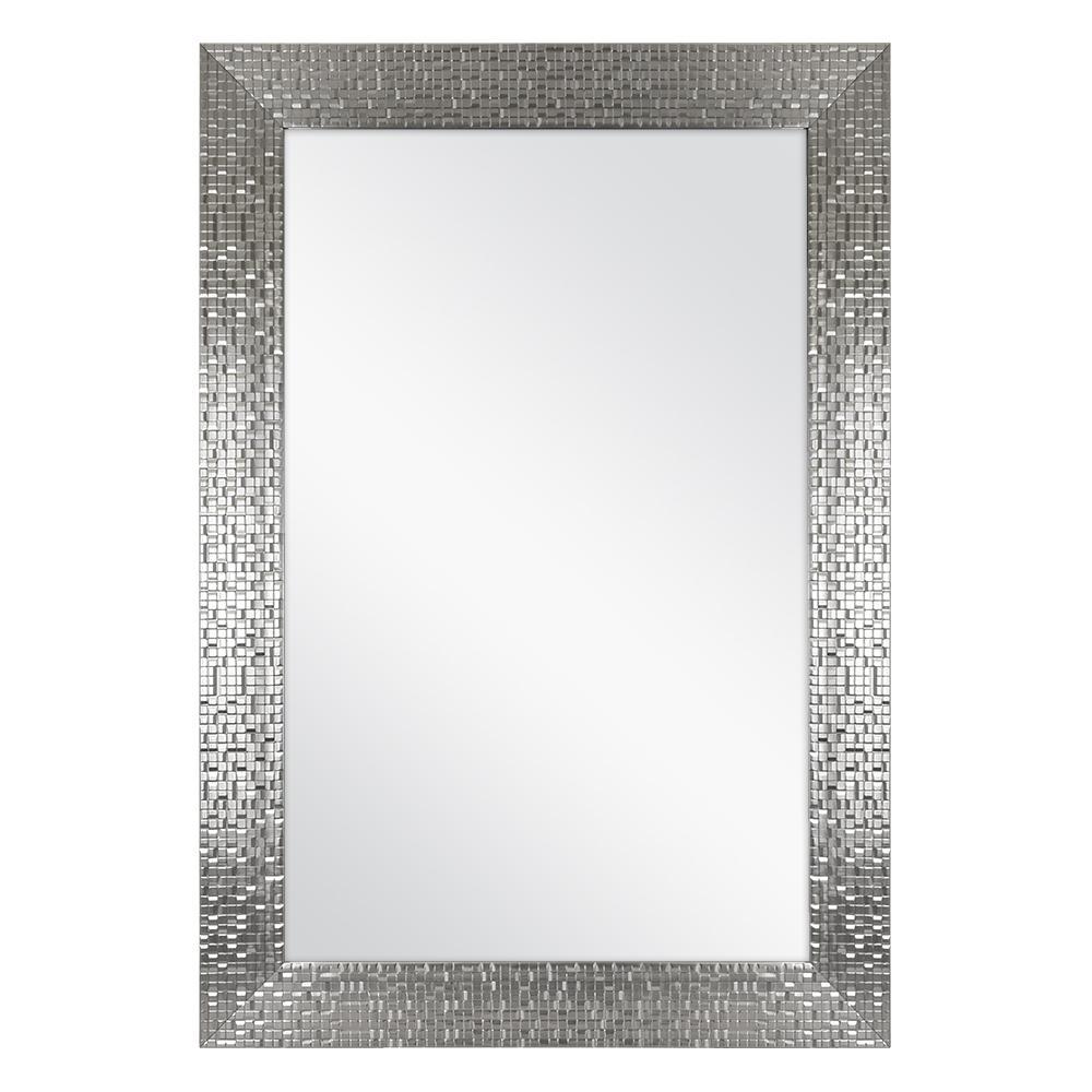 24 in. W x 35 in. H Framed Rectangular Anti-Fog Bathroom Vanity Mirror in Silver Finish