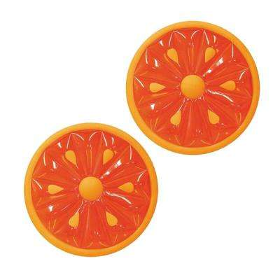 60 in. Inflatable Heavy-Duty Swimming Pool Orange Slice Float (2-Pack)