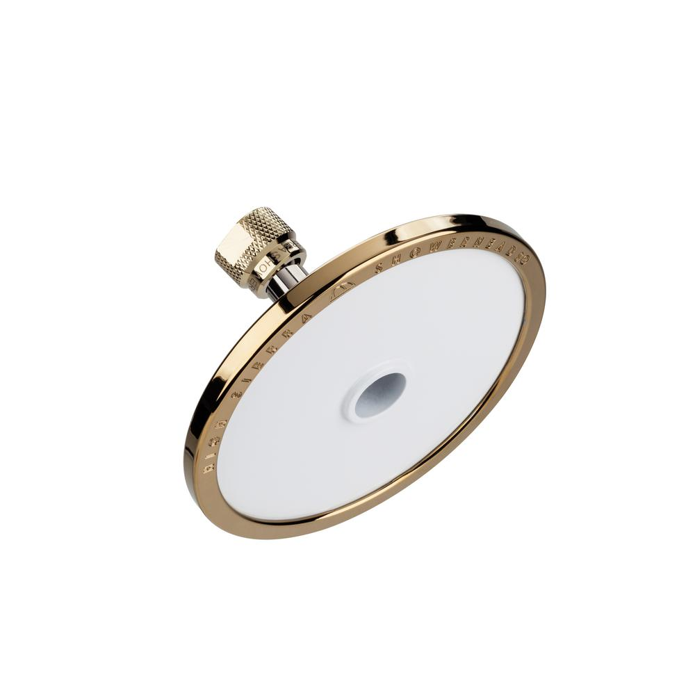 High Sierra Showerheads Tenaya PLUS 1-Spray 5 in. Round Fixed Showerhead with All Metal Construction in Powder Coated White with Brass Accents