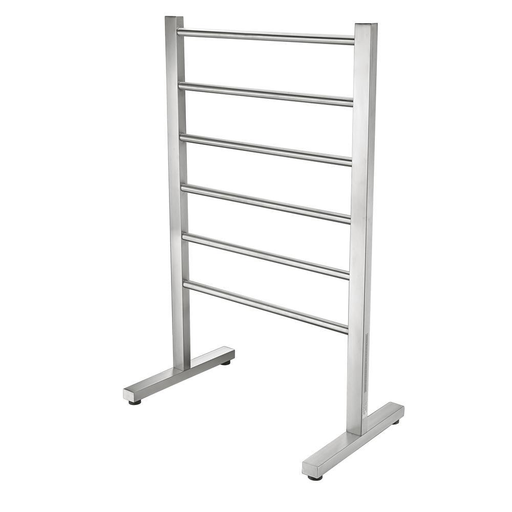 ANZZI Riposte Series 6-Bar Stainless Steel Floor Mounted Electric Towel Warmer Rack in Brushed Nickel