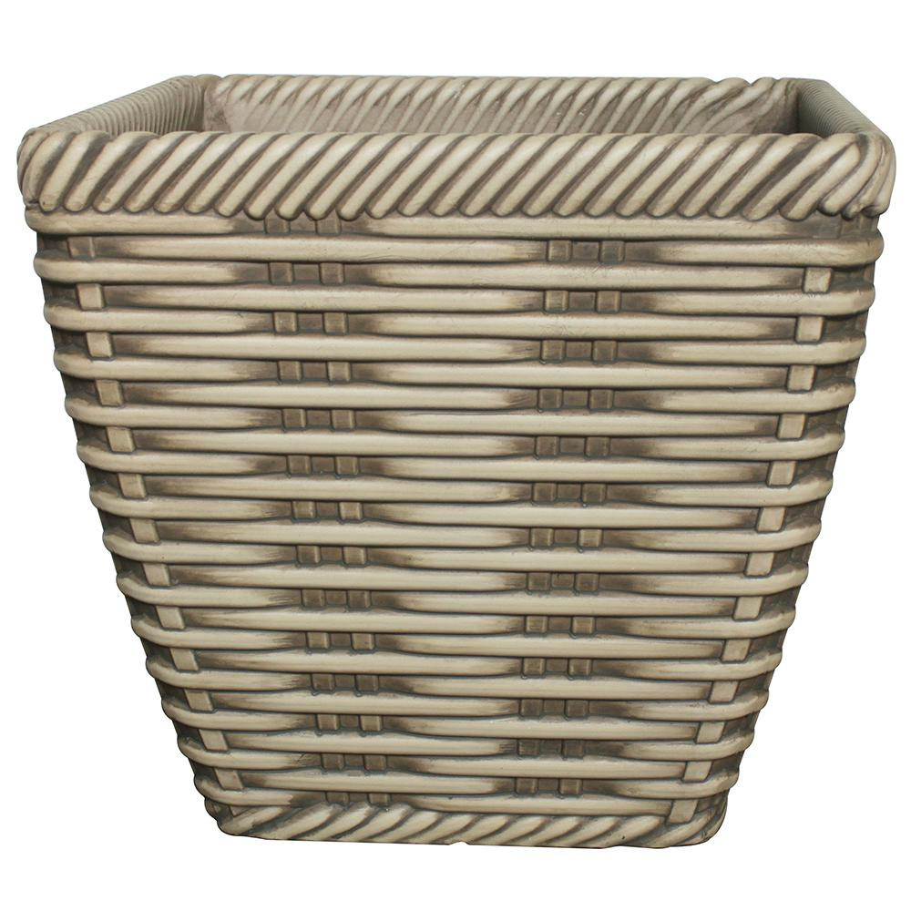 Trendspot 14 in. Market Place Willowbark Plastic Pot on