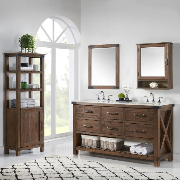 Home Decorators Collection Minton 22 In X 28 In H Surface Mount Medicine Cabinet In Rustic Wood Bf 27190 Rw The Home Depot