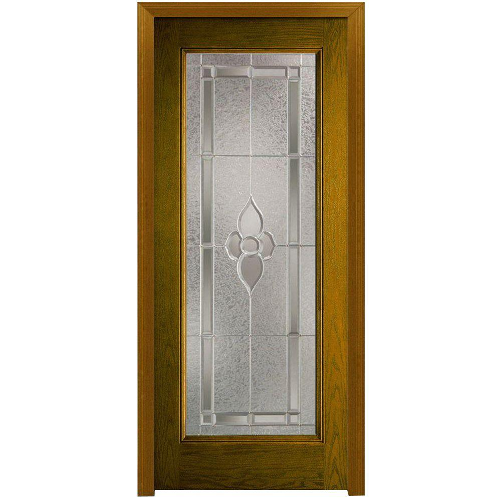 Milliken Millwork 36 in. x 80 in. Master Nouveau Decorative Glass Full Lite Finished Oak Fiberglass Prehung Front Door