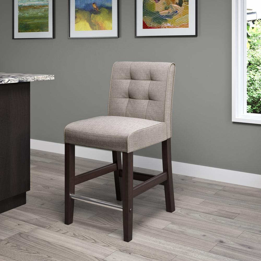 Counter Height Grey Tweed Fabric Bar Stool