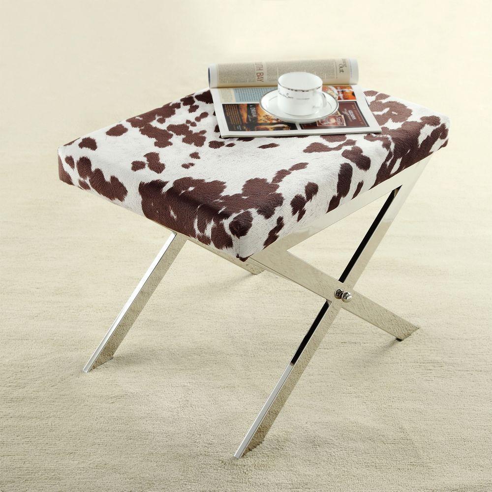 Homesullivan Richardson Cowhide Print Fabric Vanity Bench