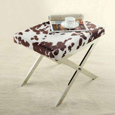 Richardson Cowhide Print Fabric Vanity Bench