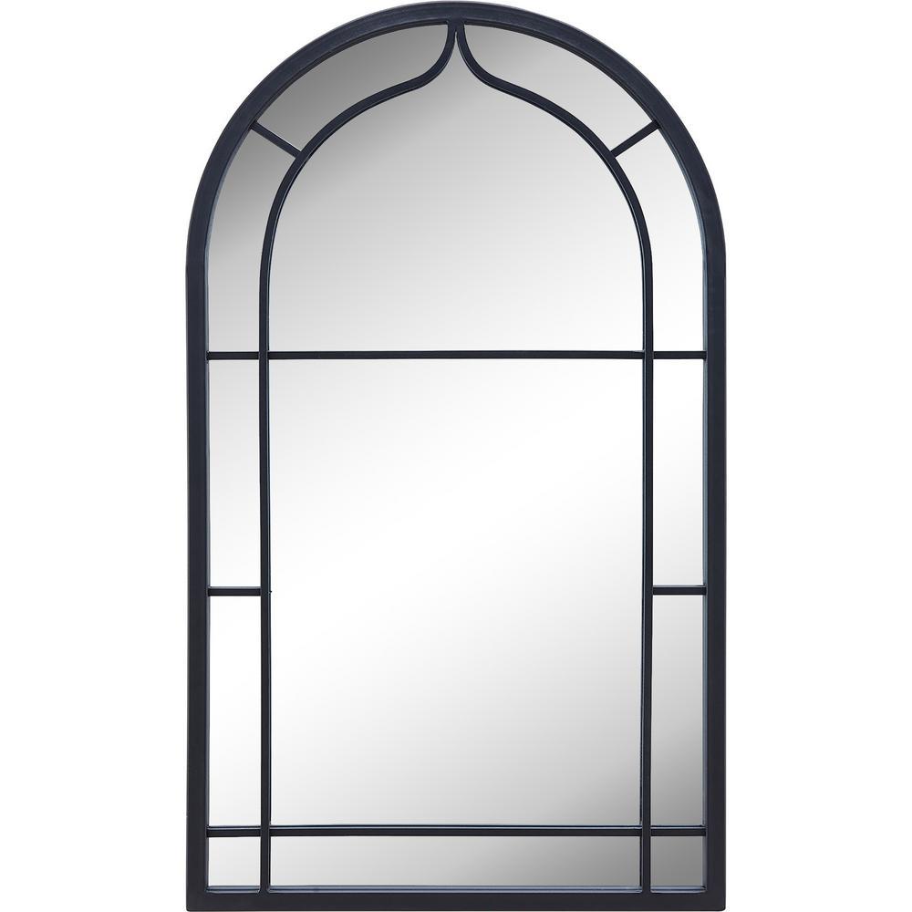 Medium Arch Dark Gray Contemporary Mirror (33 in. H x 1 in. W)