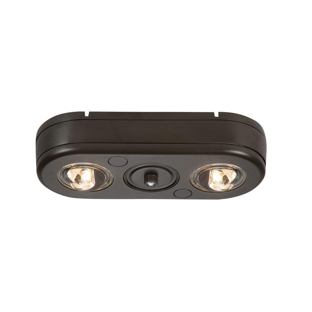 Revolve Bronze Twin Head Dusk to Dawn Outdoor Integrated LED Security