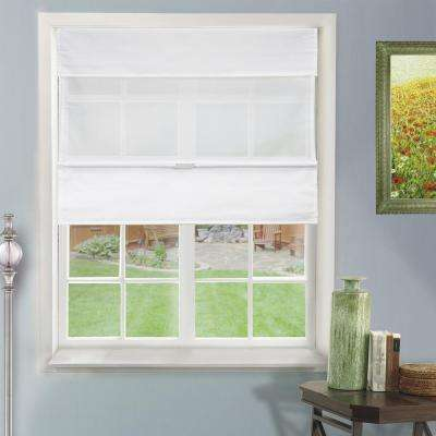 27 in. W x  64 in. L Daily White  Light Filtering Horizontal Fabric Roman Shade