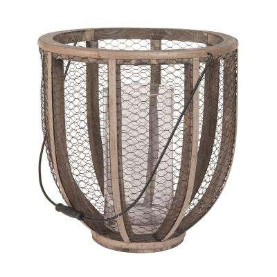 17 in. Barrel Wire Atlas Wood and Wire Hurricane Candle Holder in Natural Wood and Dark Bronze