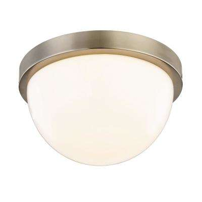 Luna 40-Watt Equivalence Satin Nickel Integrated LED Dome Flush Mount with Glass Shade