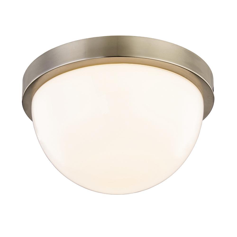 Luna 60-Watt Equivalence Satin Nickel Integrated LED Dome Flushmount with Glass Shade