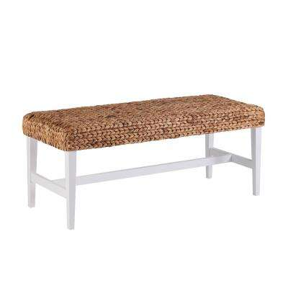 Kessler White Woven Coffee Table Bench