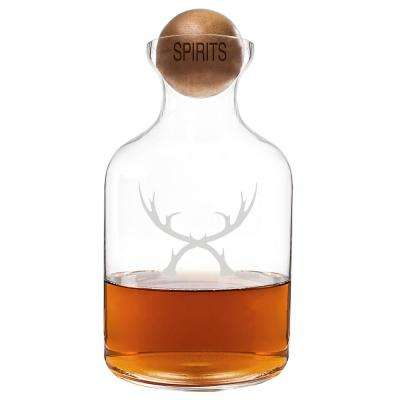 Antlers Clear Whiskey Decanter with Wood Stopper