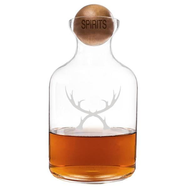 Cathy's Concepts Antlers Clear Whiskey Decanter with Wood Stopper AN-1393