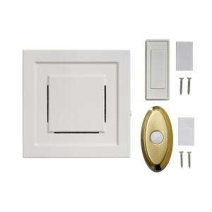 White 85 dB Wireless Plug-In Door Bell Kit with 1-Push Button with Brass...