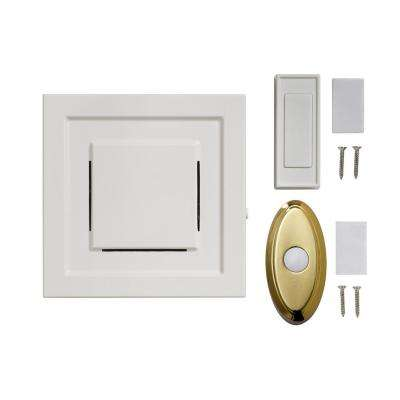 White 85 dB Wireless Plug-In Door Bell Kit with 1-Push Button with Brass Wireless Door Bell Push Button